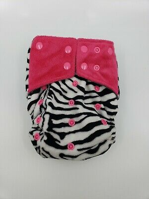 Happy Flute charcoal bamboo all in one cloth diaper - Pink zebra