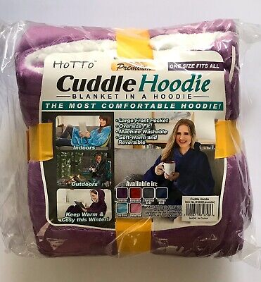Cuddle Hoodie. Blanket in a Hoodie - (Lavender) -Reversable One Size Fits All