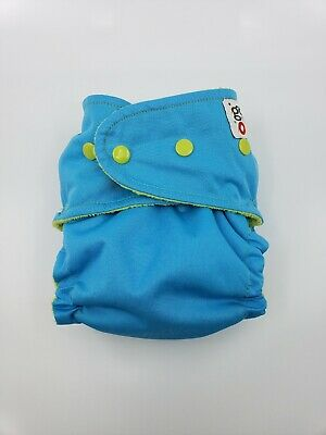 Good Mama Fitted cloth Diaper Very HTF Limited Edition bright blue/lime green