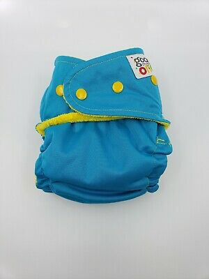Good Mama Fitted cloth Diaper Very HTF Limited Edition bright blue/yellow