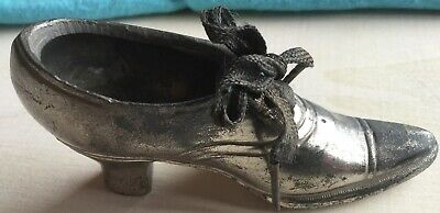 SILVER MINIATURE SHOE LACE-UP VINTAGE NO MAKERS MARK MATCHBOX/PIN CUSHION 10x3x4