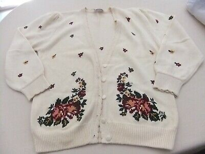 Ladies Vintage Embroidered Floral Button Front Cardigan Medium L/Slv Cotton 1980