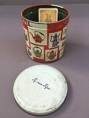 Vintage TUCKFIELDS 'Ty-Nee Tips' TEA Tin, Original Tea LEAVES & Bird CARD....