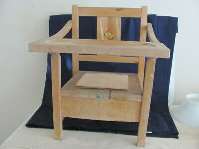 Vintage Child's Wooden Folding Potty Chair  w/ Tray & Bowl