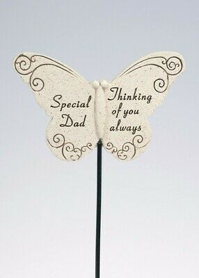 Butterfly on a Stick Sentiment Grave Graveside Memorial Stick Stake - Various