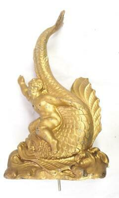 Mantel Clock Finial Gilt Spelter Pediment Centre Finial Clock Pediment Fish Des