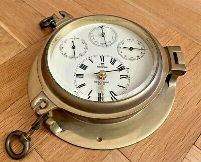 Nauticalia Brass Clock Instruments Messing Uhr Instrumente Fleet Commander