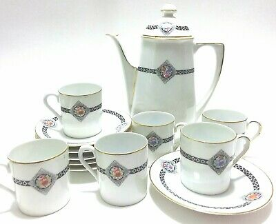 Antique 13pc Z.S & Co Zehscherzer Barvaria Coffee Set Hand Painted Germany