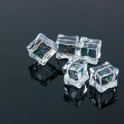 20pcs Artificial Ice Cubes Transparent Fake Ice Square For Photography Props