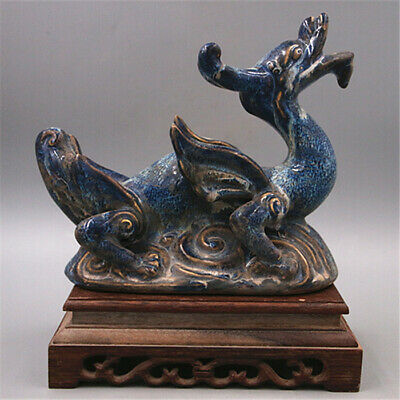 """8.7"""" Collection China Qing Dynasty Porcelain Kiln Change Blue Fly Dragon Statue"""