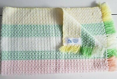 Vtg 70s Hand Woven Baby Blanket Fringe Plymouth Place Weavers Yellow Green Peach