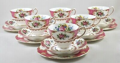 Royal Albert China Lady Carlyle Trios X 6 Cups & Saucers, Side Tea Bread Plates