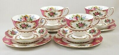 Royal Albert China Lady Carlyle Trios X 4 Cups & Saucers, Side Tea Bread Plates