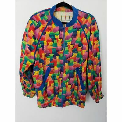 Vintage Cat Print Adult Medium/Large Corduroy Full Zip Rainbow Long Sleeve