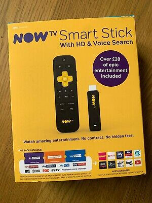 NOW TV Smart Stick with hd and voice search-new boxed-free post