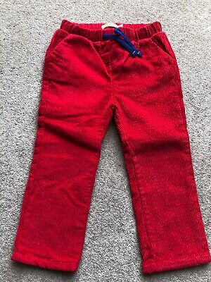 Mini Boden Girls Cord Red Lined Trousers Sz 2-3 Years BNWT