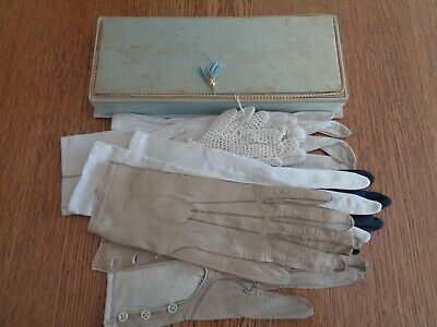 A box of vintage gloves. Kid leather and fabric.