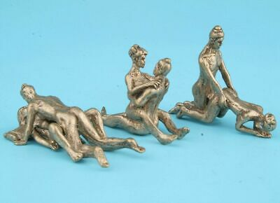 3pcs Old Pure Copper Sex Culture Statue Figure Lover Charm Netsuke Collectibles
