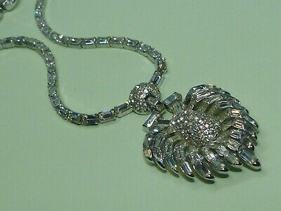 Mazer Brothers 1940s Art Deco-style silver-plated rhinestone pendant necklace