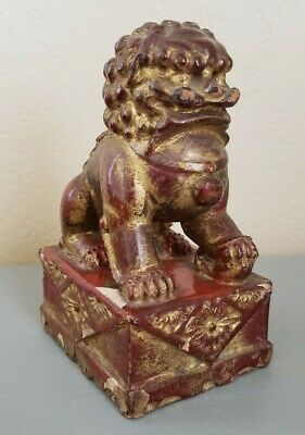 Vintage Chinese Foo Dog Hand Carved Wood Red & Gold Lacquer