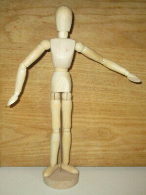"13"" Vintage Carved & Jointed Wood Figure Articulated Artist Model Sculpture"