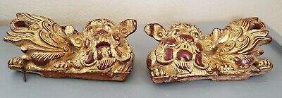 Vintage Chinese Foo Dogs Hand Carved Wood - Red & Gold