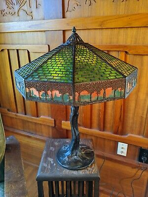 Handel tree boarder with crocked tree table lamp, mission,arts and craft