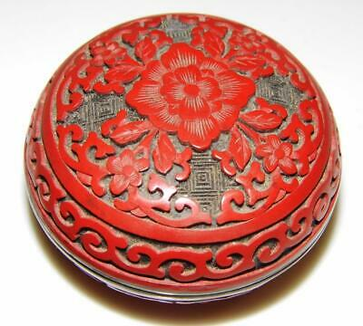 Fine Chinese Carved Cinnabar Red Lacquer & Brass Paste Box with Old Label  3in