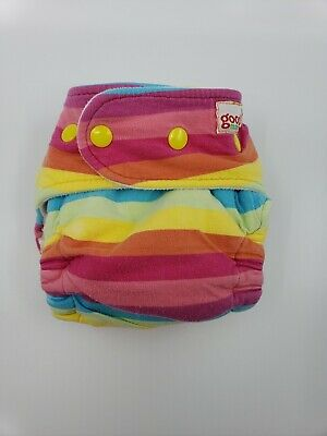 Good Mama Fitted cloth Diaper Very HTF Limited Edition Rainbow strip yellow