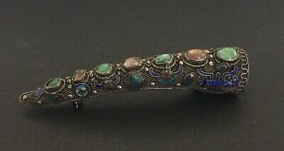 Late 19Th Early 20Th Century Chinese Silver Filigree Fingernail Guard Brooch