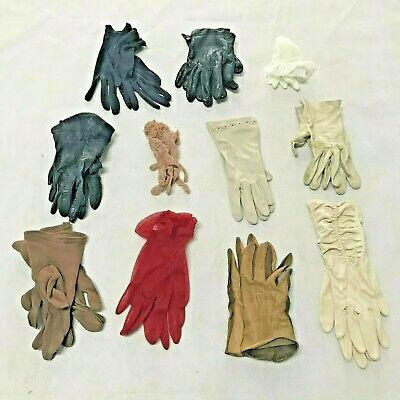 11 pairs Ladies Vintage Leather , Mesh and Fabric Gloves 1930 -1960s