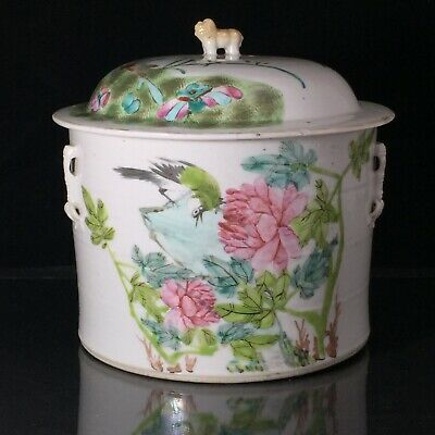 "Antique Chinese Porcelain Famille Rose Lidded Jar Pot with Handles Large 8"" tall"