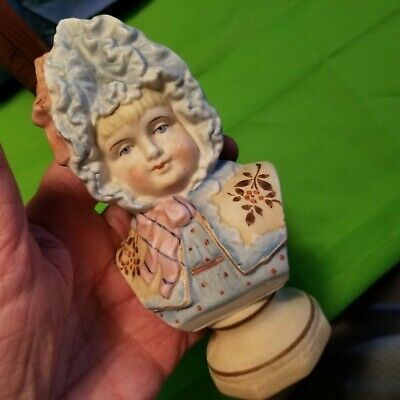ANTIQUE 1870s European BISQUE PORCELAIN Biscuit Bisque BUST of  Girl. BEAUTIFUL!