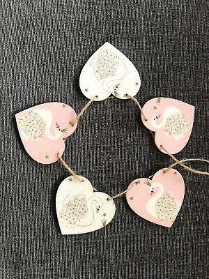 Swans Handmade wooden hanging Heart Bunting Decoupaged Nursery