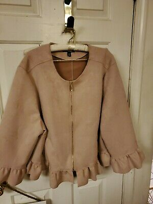 Dress Barn Women 3X Pink Ruffle Peplum Jacket ruffle sleeves Roz Ali faux suede