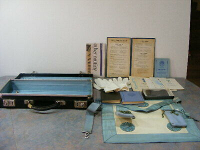 Vintage Freemason's Case with Related Items