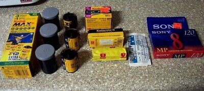 Expired Kodak 35mm Max 800 Gold 200 Kodacolor ll Sony 8mm Video Film Roll Lot