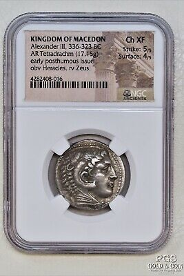 Kingdom of Macedon Alexander III 336-323BC AR Tetradrachm Coin NGC XF 18240
