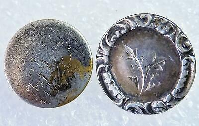 Lot of 2 Antique Colonial Silver Plated Buttons Box Shank Wheat Pattern