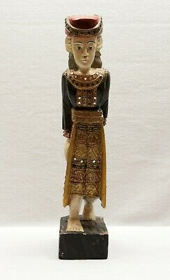 Vintage - Solid Wood Thai Thailand Hand Carved and Painted Figure Sculpture
