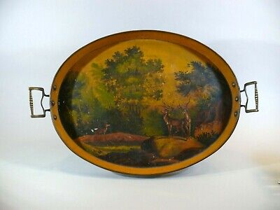 Antique 19thC Hand Painted WILDLIFE Mustard Toleware Serving Tray Brass Handles