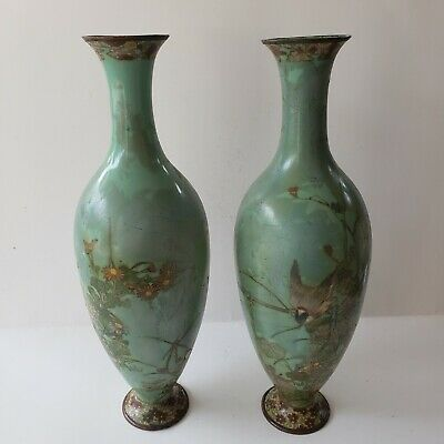 "Antique Chinese Cloisonne Enamel On Copper 12"" Vase, Green, Birds, Flowers"