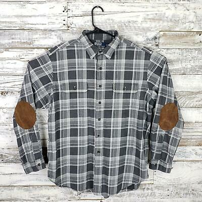 Polo By Ralph Lauren Mens Button Down Shirt Long Sleeve Gray Plaid Size XL
