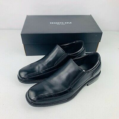Kenneth Cole Reaction Punchual LE Black Leather Slip On Shoes Mens Size 10.5