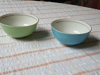 Vintage Japan Pair Rice Bowls Fine China Porcelain 1950S Excellent Condition