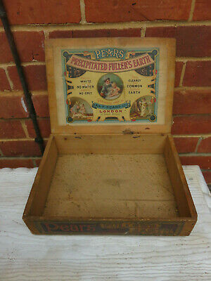 Rare Antique Advertising Pears Fullers Earth Soap Makers Wooden Box With Print