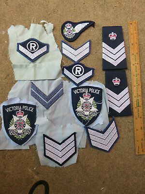 Vintage Australian Victoria Police Air Crew Wing Patch Badges Rank Obsolete