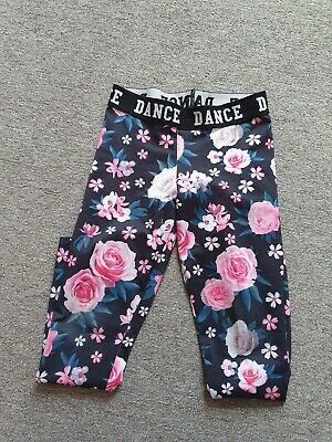 Girls Floral Fitness Dance Leggings F&F Age 9-10