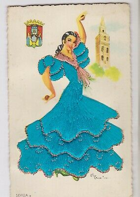 Embroidered Dress Sevilla Lady Spanish Dancer Made In Spain Postcard