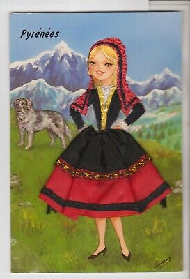 Embroidered Dress Pyrenees Mountain Lass Postcard Made In Spain Postcard